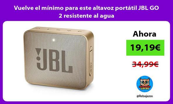 Vuelve el mínimo para este altavoz portátil JBL GO 2 resistente al agua