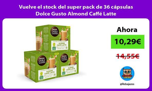 Vuelve el stock del super pack de 36 cápsulas Dolce Gusto Almond Caffé Latte