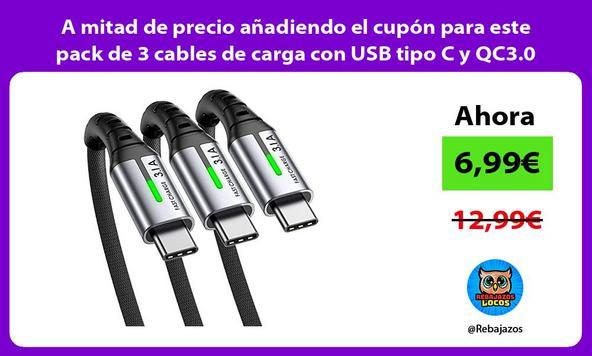 A mitad de precio añadiendo el cupón para este pack de 3 cables de carga con USB tipo C y QC3.0