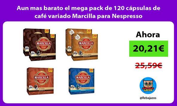 Aun mas barato el mega pack de 120 cápsulas de café variado Marcilla para Nespresso