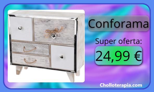 Buen precio para este mini mueble con 5 cajones de estilo vintage