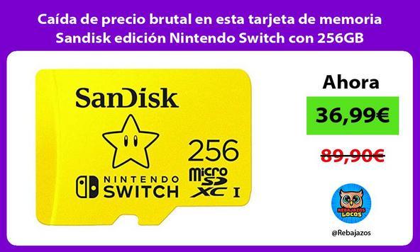 Caída de precio brutal en esta tarjeta de memoria Sandisk edición Nintendo Switch con 256GB