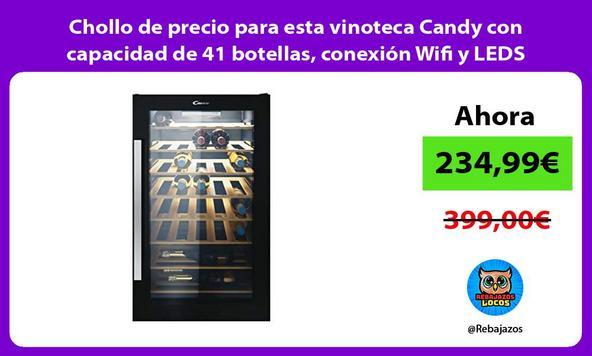 Chollo de precio para esta vinoteca Candy con capacidad de 41 botellas, conexión Wifi y LEDS