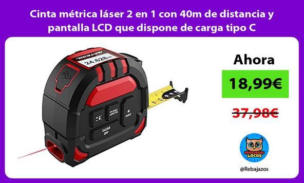 Cinta métrica láser 2 en 1 con 40m de distancia y pantalla LCD que dispone de carga tipo C