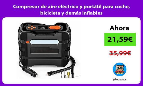 Compresor de aire eléctrico y portátil para coche, bicicleta y demás inflables