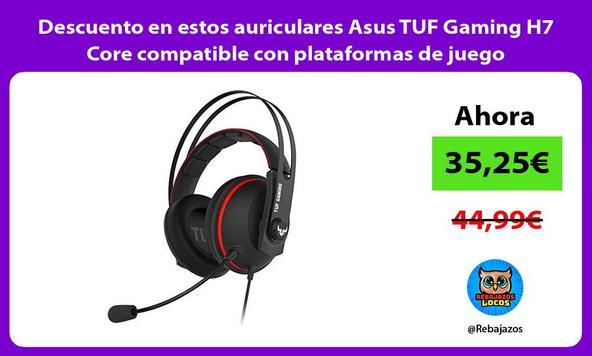 Descuento en estos auriculares Asus TUF Gaming H7 Core compatible con plataformas de juego