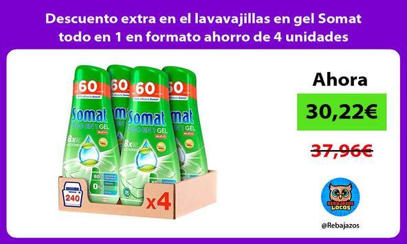 Descuento extra en el lavavajillas en gel Somat todo en 1 en formato ahorro de 4 unidades