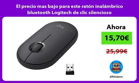 El precio mas bajo para este ratón inalámbrico bluetooth Logitech de clic silencioso