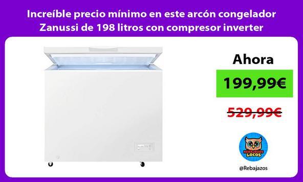 Increíble precio mínimo en este arcón congelador Zanussi de 198 litros con compresor inverter