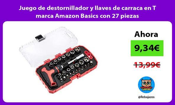 Juego de destornillador y llaves de carraca en T marca Amazon Basics con 27 piezas