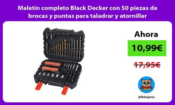 Maletín completo Black Decker con 50 piezas de brocas y puntas para taladrar y atornillar