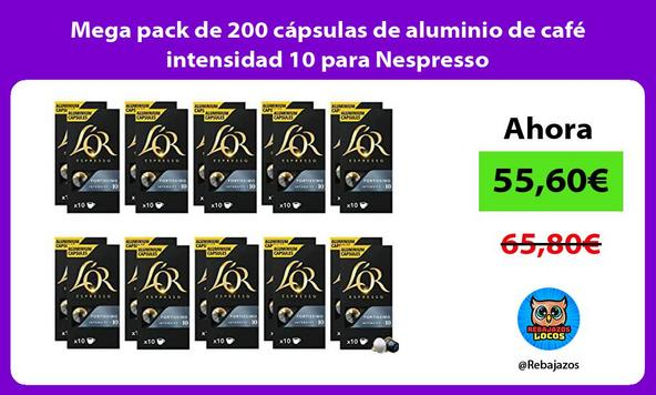 Mega pack de 200 cápsulas de aluminio de café intensidad 10 para Nespresso