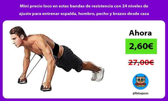 Mini precio loco en estas bandas de resistencia con 24 niveles de ajuste para entrenar espalda, hombro, pecho y brazos desde casa