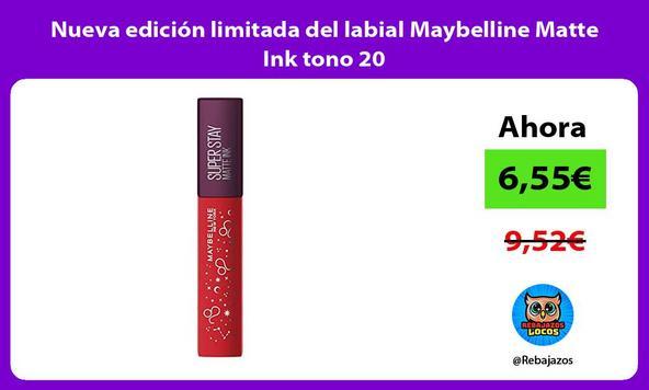 Nueva edición limitada del labial Maybelline Matte Ink tono 20