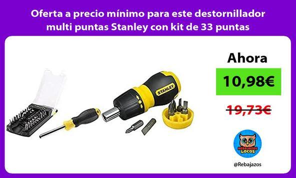 Oferta a precio mínimo para este destornillador multi puntas Stanley con kit de 33 puntas