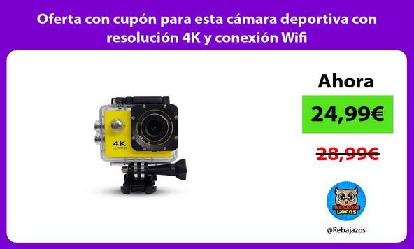 Oferta con cupón para esta cámara deportiva con resolución 4K y conexión Wifi