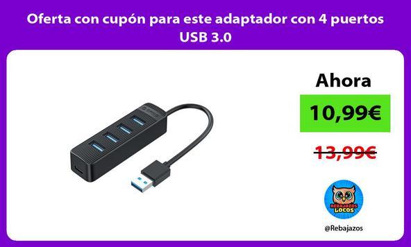 Oferta con cupón para este adaptador con 4 puertos USB 3.0
