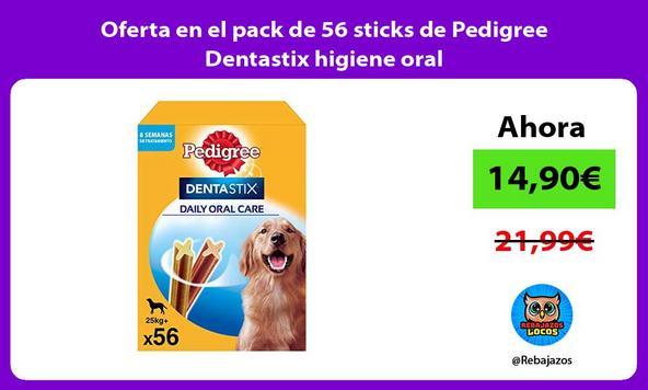 Oferta en el pack de 56 sticks de Pedigree Dentastix higiene oral