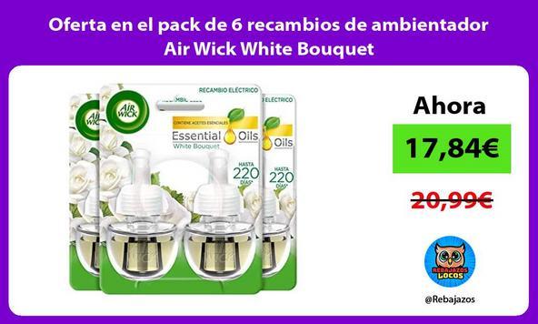 Oferta en el pack de 6 recambios de ambientador Air Wick White Bouquet