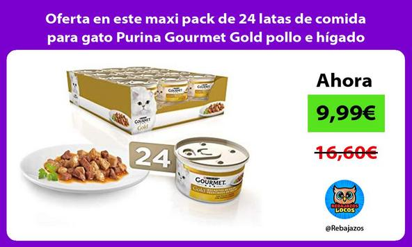 Oferta en este maxi pack de 24 latas de comida para gato Purina Gourmet Gold pollo e hígado