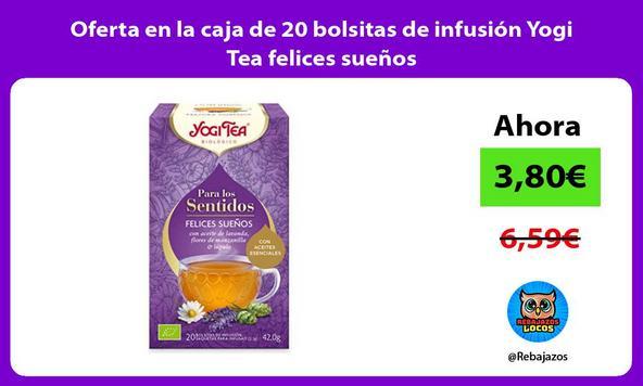 Oferta en la caja de 20 bolsitas de infusión Yogi Tea felices sueños
