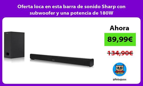Oferta loca en esta barra de sonido Sharp con subwoofer y una potencia de 180W