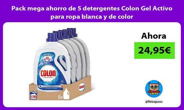 Pack mega ahorro de 5 detergentes Colon Gel Activo para ropa blanca y de color