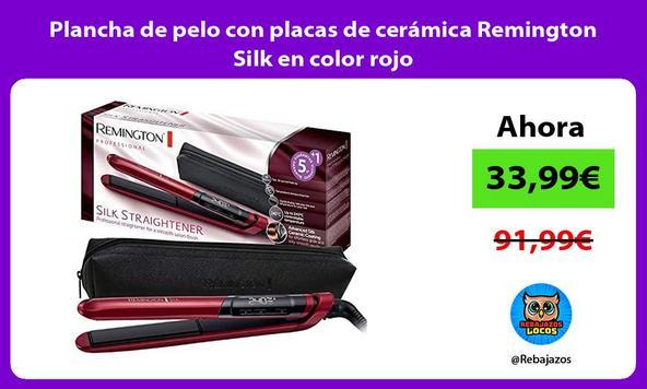 Plancha de pelo con placas de cerámica Remington Silk en color rojo