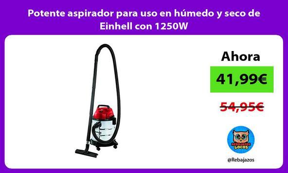 Potente aspirador para uso en húmedo y seco de Einhell con 1250W