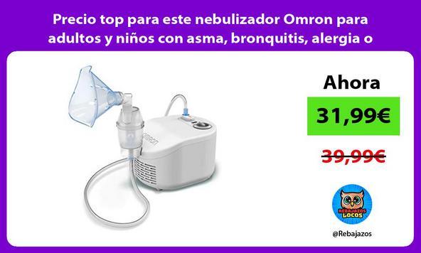 Precio top para este nebulizador Omron para adultos y niños con asma, bronquitis, alergia o tos