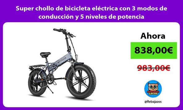 Super chollo de bicicleta eléctrica con 3 modos de conducción y 5 niveles de potencia