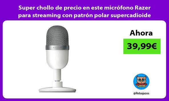 Super chollo de precio en este micrófono Razer para streaming con patrón polar supercadioide