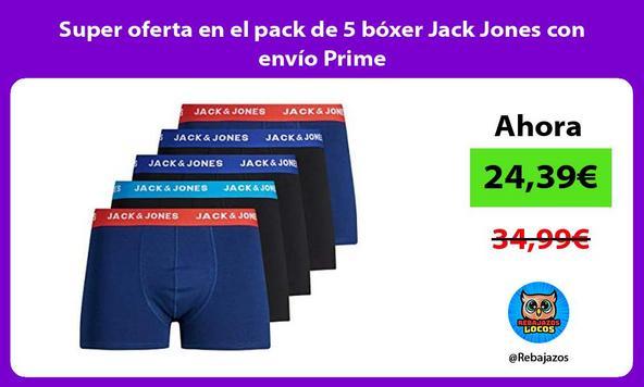 Super oferta en el pack de 5 bóxer Jack Jones con envío Prime