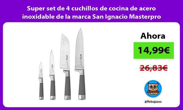 Super set de 4 cuchillos de cocina de acero inoxidable de la marca San Ignacio Masterpro
