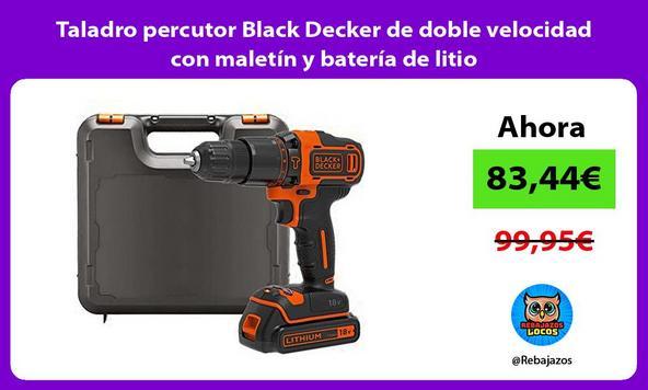 Taladro percutor Black Decker de doble velocidad con maletín y batería de litio