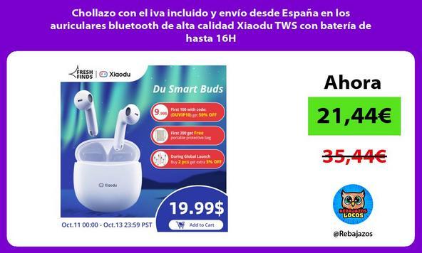 Chollazo con el iva incluido y envío desde España en los auriculares bluetooth de alta calidad Xiaodu TWS con batería de hasta 16H