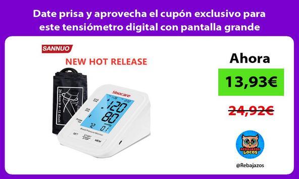 Date prisa y aprovecha el cupón exclusivo para este tensiómetro digital con pantalla grande