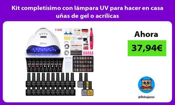 Kit completísimo con lámpara UV para hacer en casa uñas de gel o acrílicas