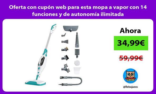 Oferta con cupón web para esta mopa a vapor con 14 funciones y de autonomía ilimitada