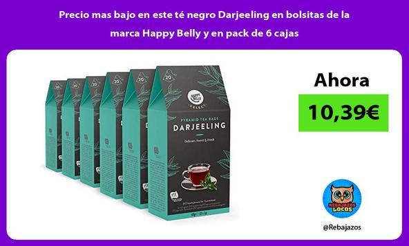 Precio mas bajo en este té negro Darjeeling en bolsitas de la marca Happy Belly y en pack de 6 cajas