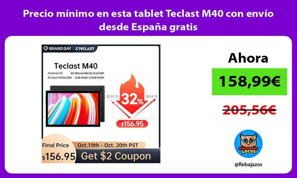 Precio mínimo en esta tablet Teclast M40 con envío desde España gratis