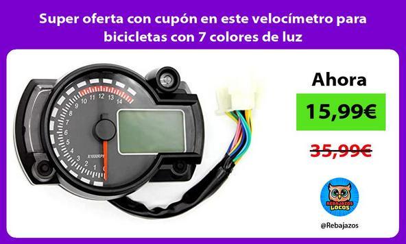 Super oferta con cupón en este velocímetro para bicicletas con 7 colores de luz