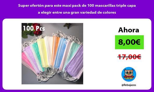 Super ofertón para este maxi pack de 100 mascarillas triple capa a elegir entre una gran variedad de colores
